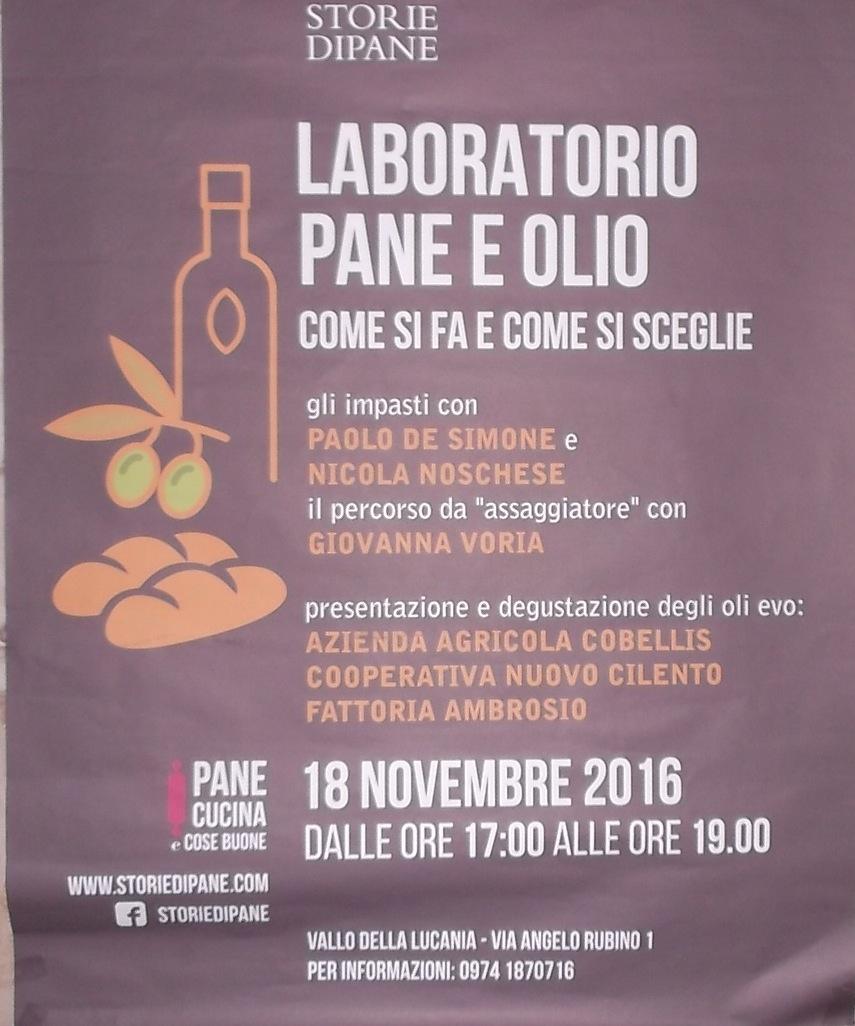 Locandina per il laboratorio su Pane ed Olio a Storie di  Pane