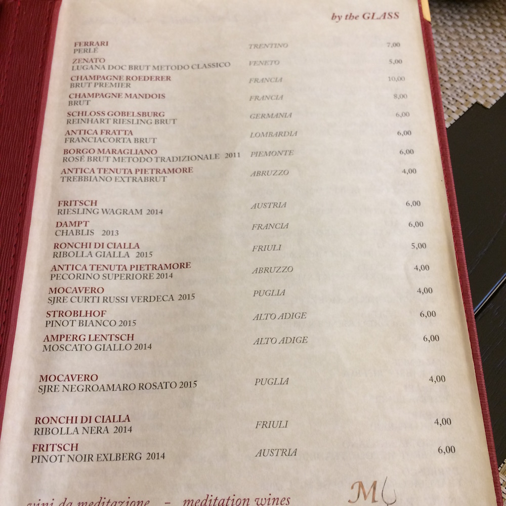 My Wine, menu