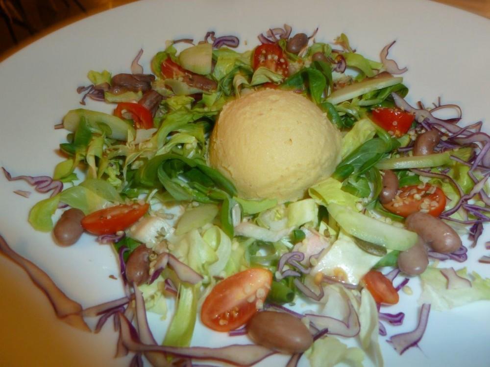 Trattoria Visconti, Antipasto vegetariano, sformatino di ceci nell'orto, la freschezze delle verdure dall'orto di casa