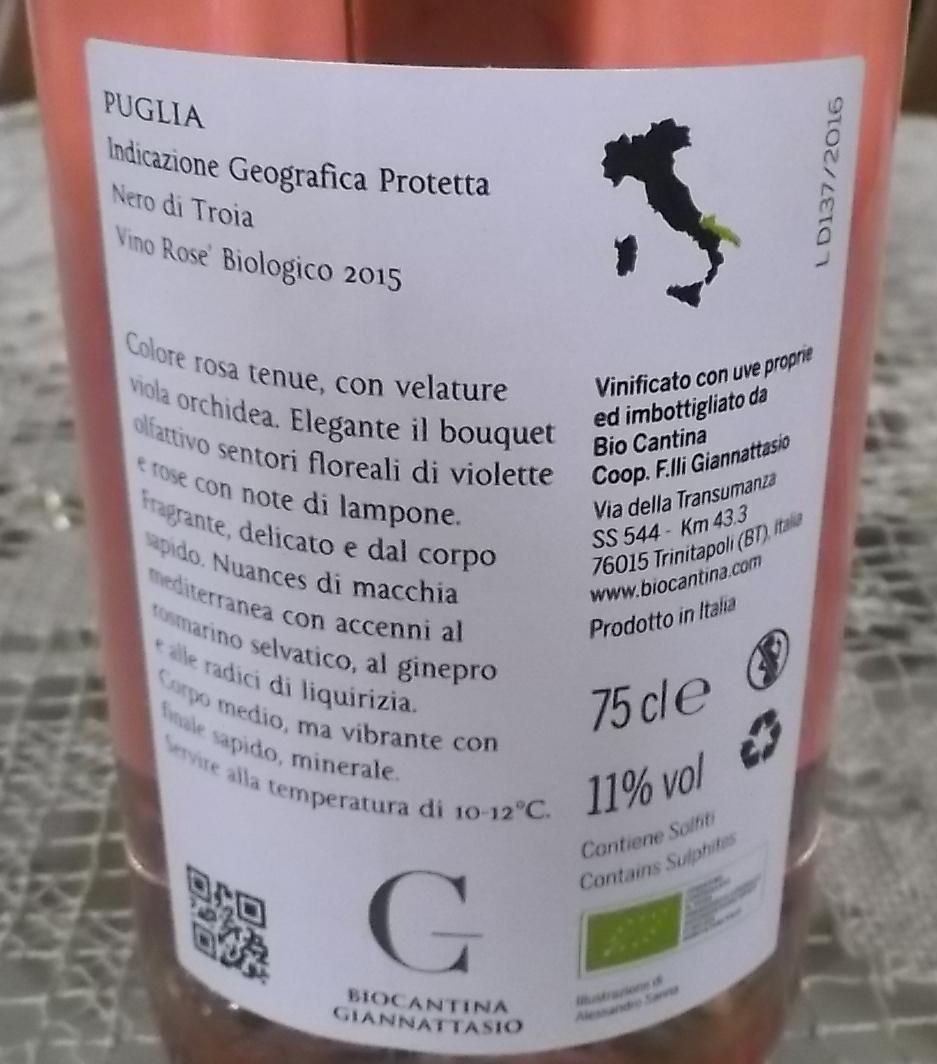 Controetichetta Nero di Troia Rose' Igp 2015 Biocantina Giannattasio