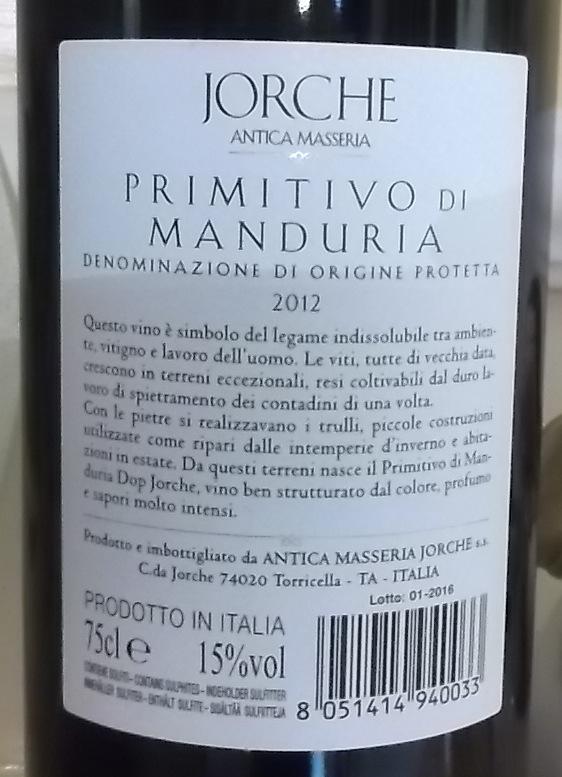 Controetichetta Primitivo di Manduria Doc 2012 Antica Masseria Jorche