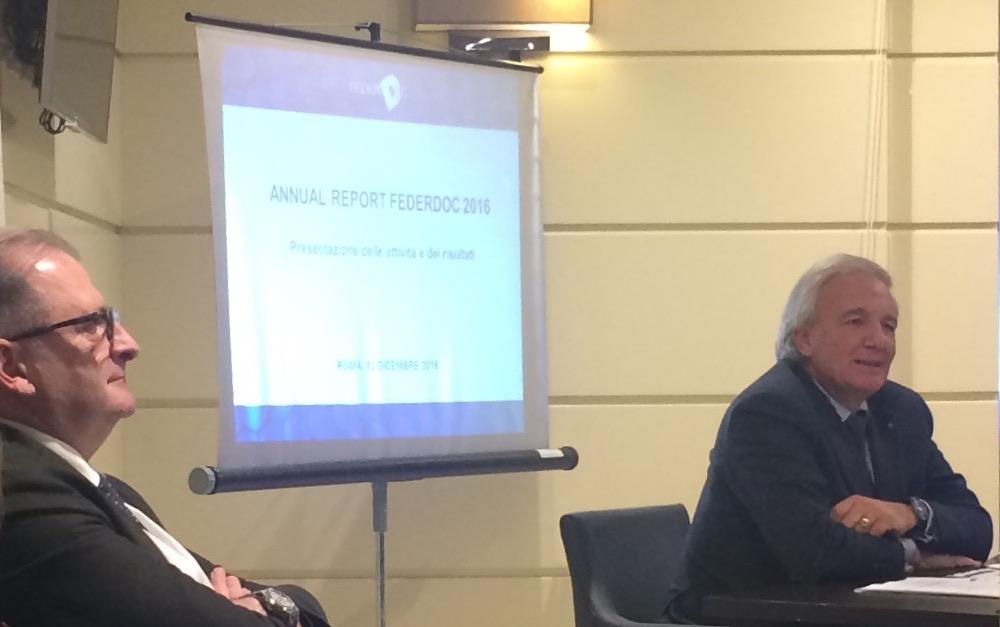 Il Presidente di Federdoc Riccardo Ricci Curbastro durante la conferenza stampa