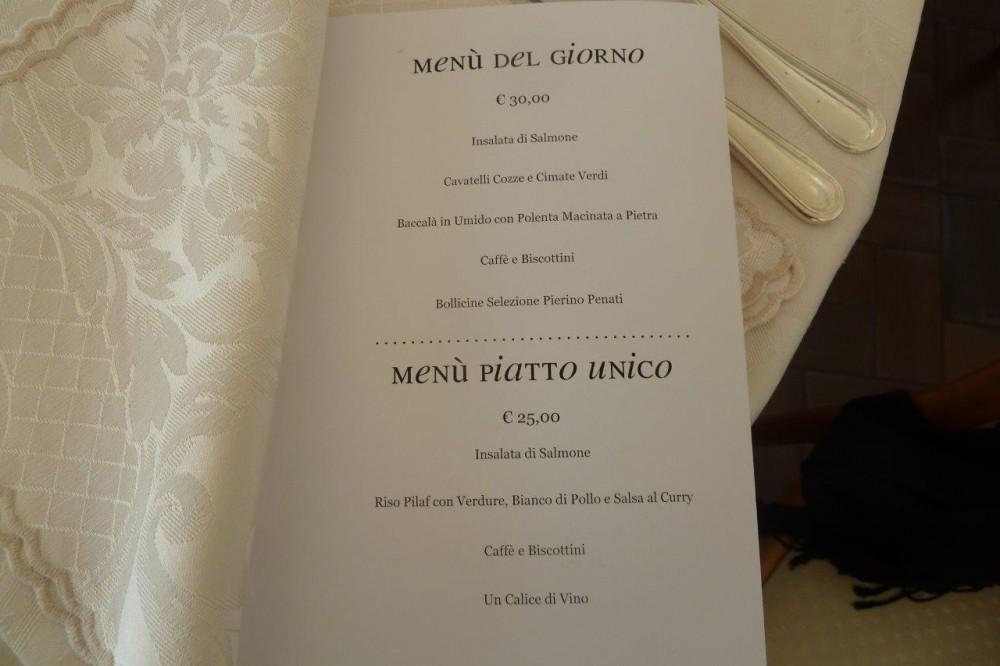 Pierino, il menu' del 9 dicembre