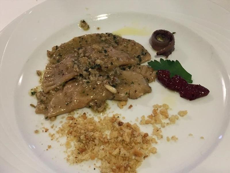 Premio gastronomico Ezio Falcone, mezzeluna con noci porcini e colatura