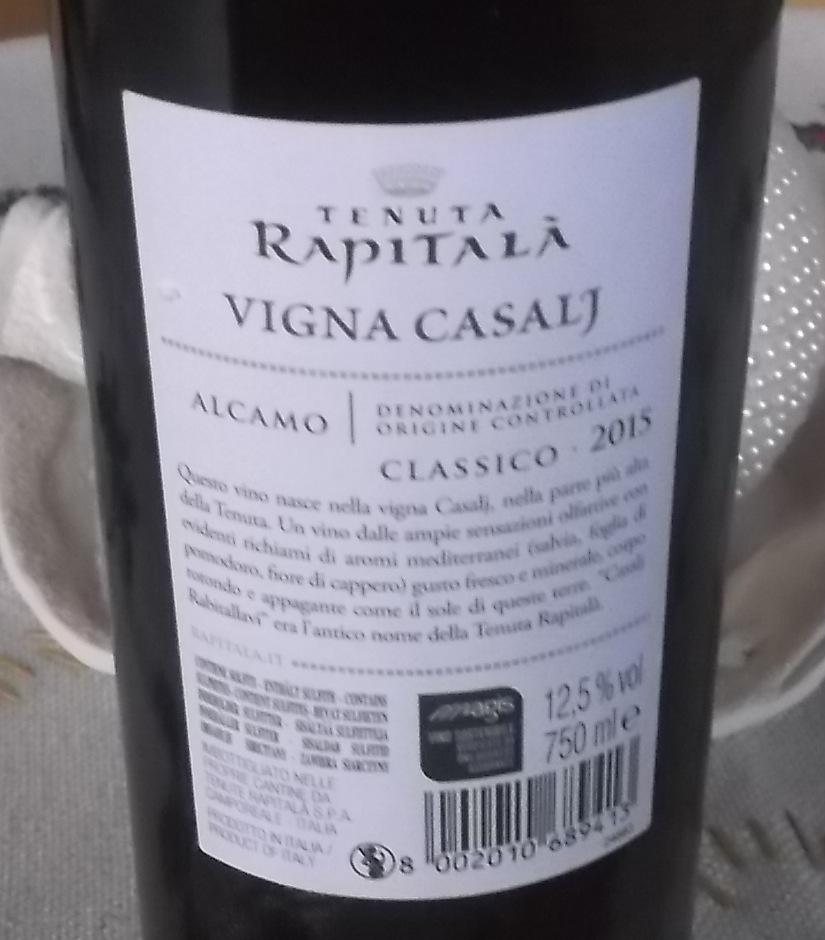 Controetichetta Casalj Alcamo Classico Doc Rapitala'