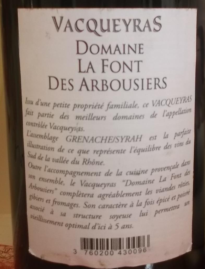 Controetichetta Vacqueyras Aop 2010 Domaine La Font des Arbousiers