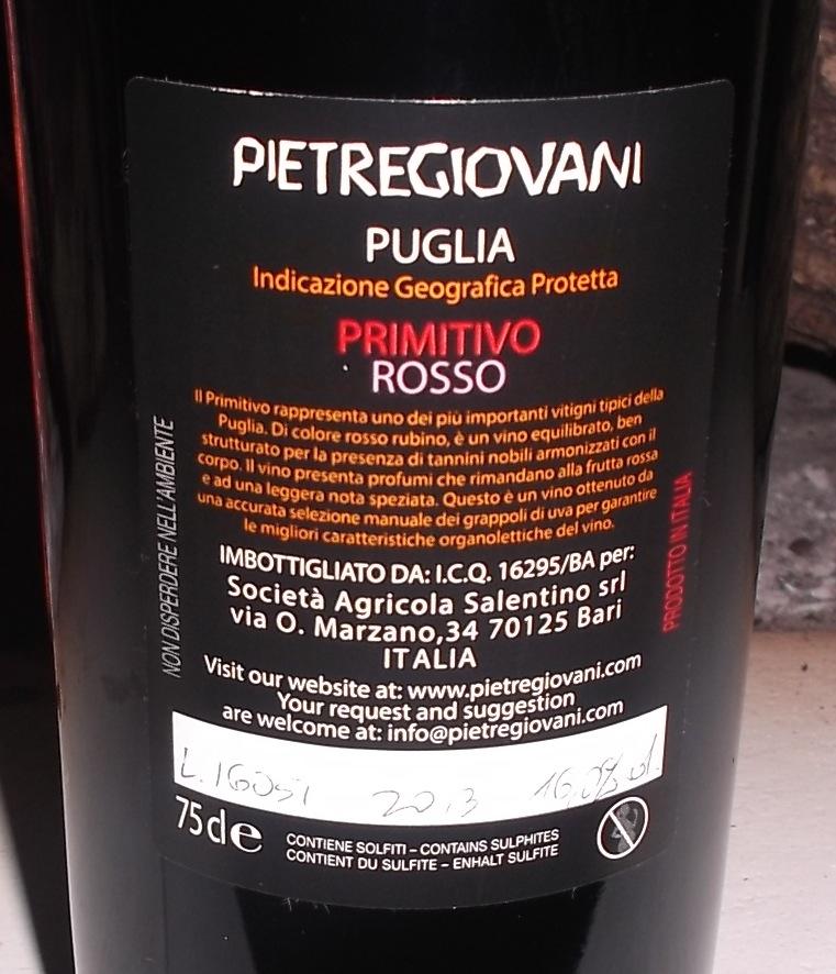 Conttoetichetta Primitivo Rosso Puglia IGP 2013 Pietregiovani