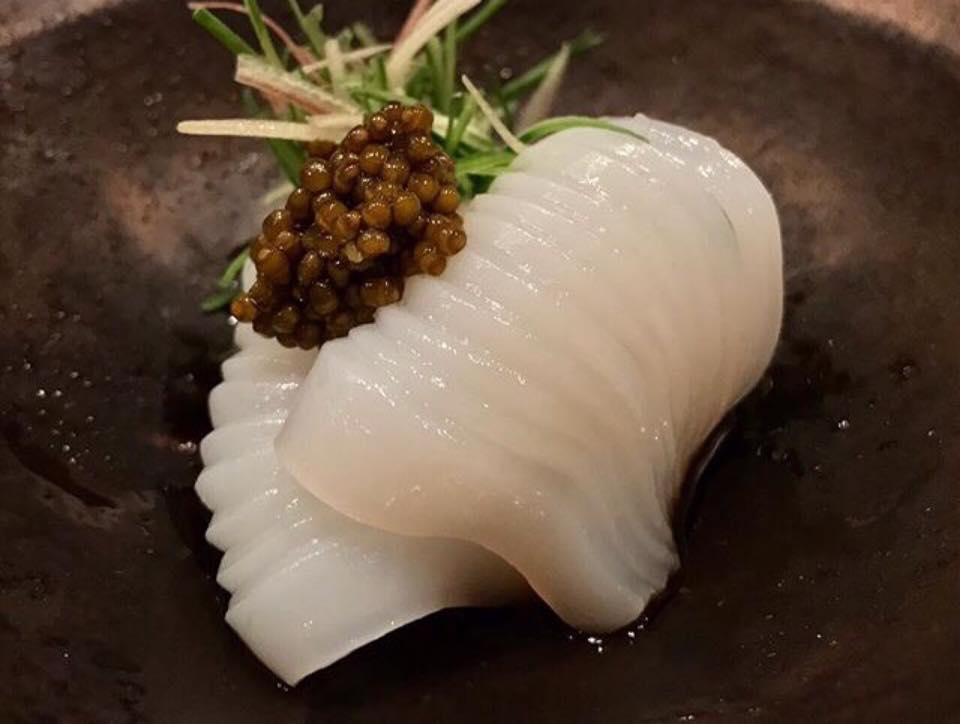 Umu, Mukouzuke: Cornish cuttlefish, Oscietra caviar, sudachi, plum sauce.