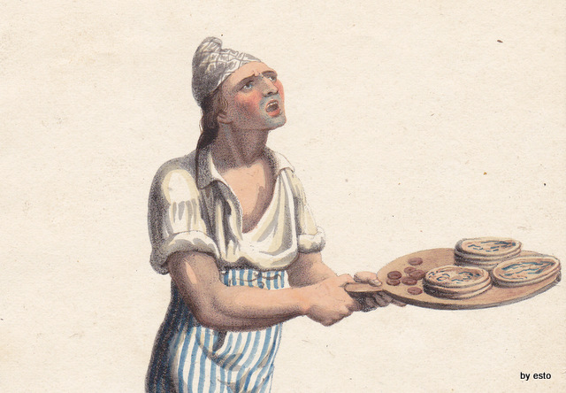 Pizzajuolo ambulante stampa inizio 1800  fonte libro 'a pizza di Tommaso Esposito ed. L'arca e l'arco
