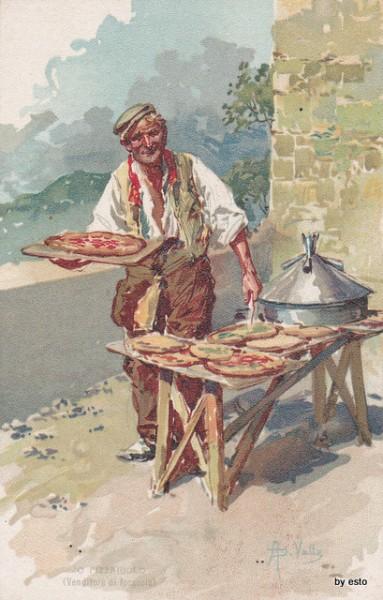 Pizzajuolo inizio 1900 fonte libro 'A pizza di Tommaso Esposito ed. L'arca e l'Arco