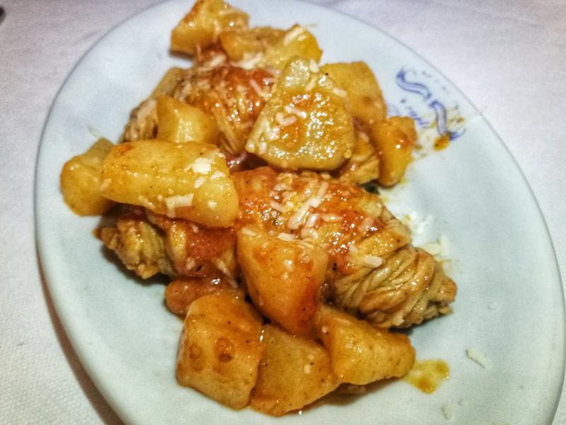 Ristorante 'E Curti, gli involtini con patate