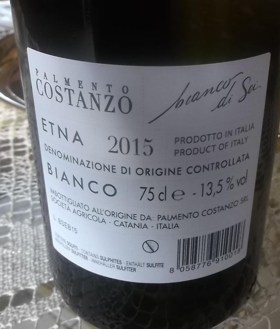 Controetichetta Bianco di Sei Etna bianco Doc 2015 Palmento Costanzo