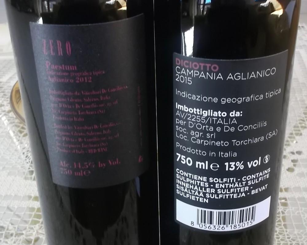 Controetichette vini De Conciliis-D'Orta