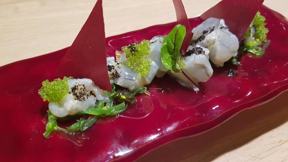 Roji, Gambero Blu, Caviale, Tobiko al Wasabi e Chips di Rapa Rossa
