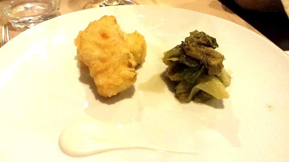 Pensando a Te, baccala' in tempura con scarolina