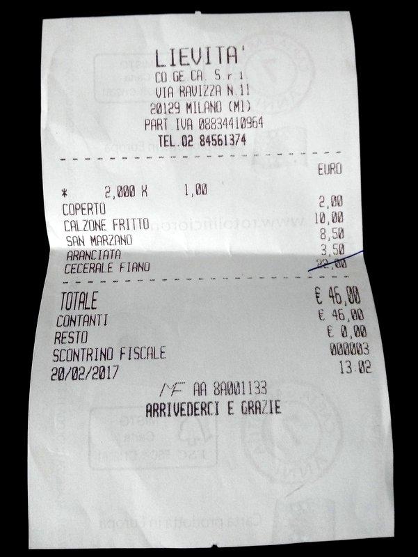 Pizzeria Lievita' a Milano. Il conto