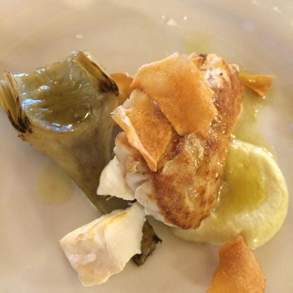 Agricosimo - gallinella di mare con carciofi arrosto e maionese di carciofi