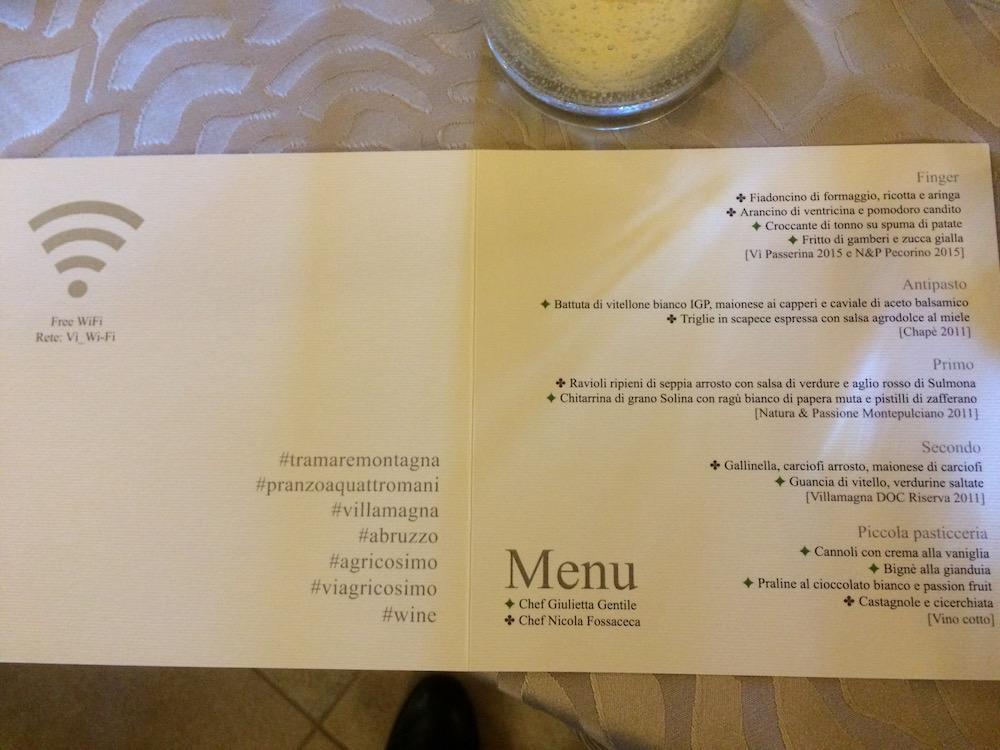 Agricosimo - il menu