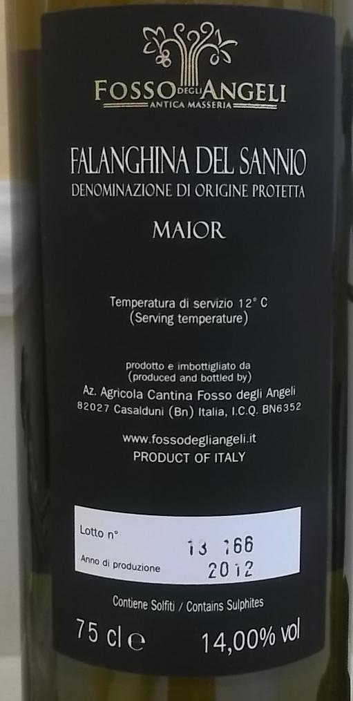 Controetichetta Falanghina del Sannio Maior Dop 2012 Fosso degli Angeli