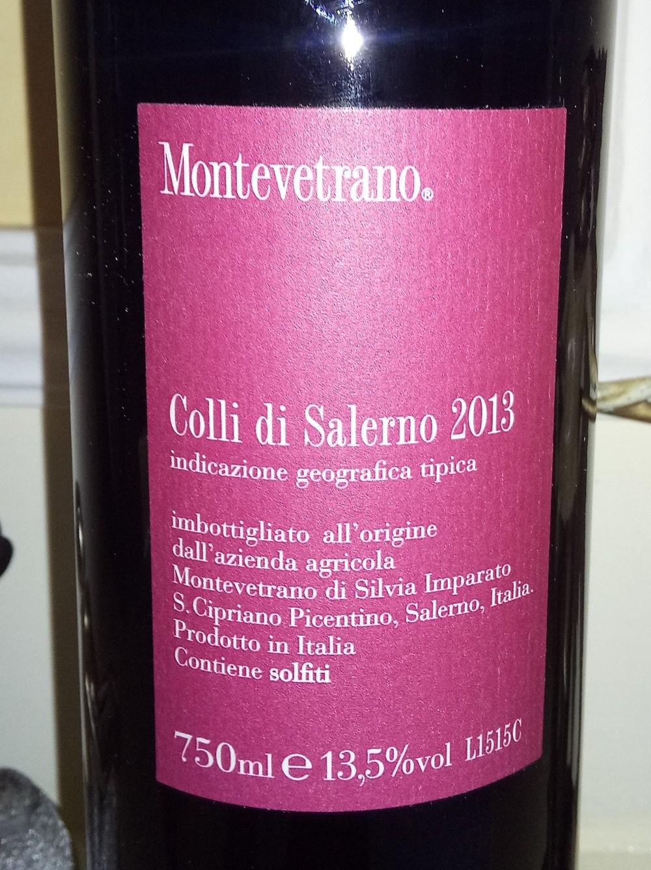 Controetichetta Miontevetrano Colli di Salerno Igt 2013 Montevetrano