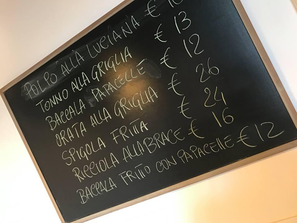 Osteria mediterraneo, il  menu