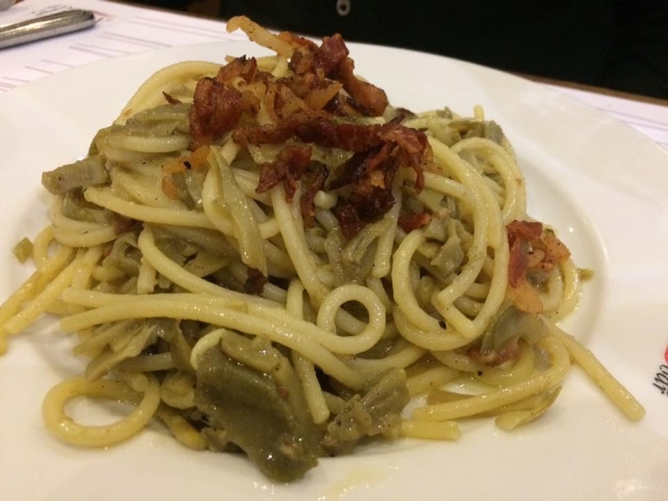 Trimani Wine Bar, spaghetti carciofi e guanciale