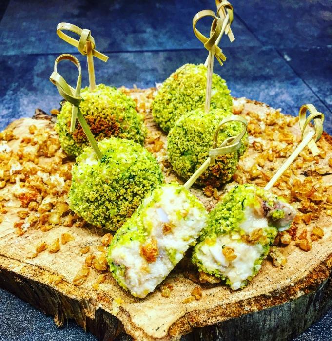 Crocchette di grano Chirico e baccala' in crosta di pane alle erbe