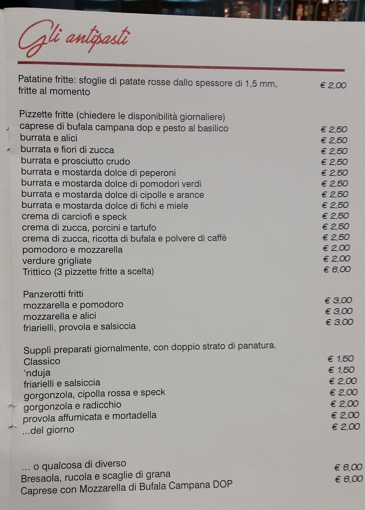Inforno, menu'