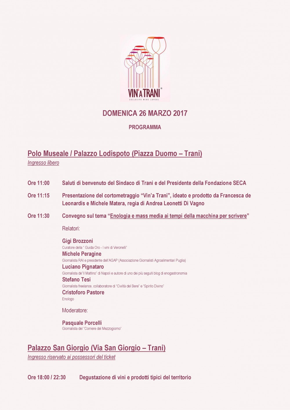 Vin' a Trani 2017, programma