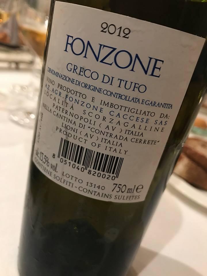 Greco di Tufo 2012, Fonzone