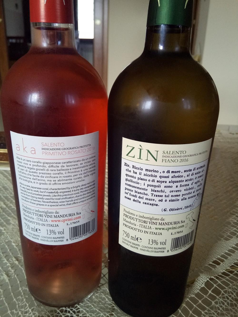 Controetichette Vini Produttori Vini di Manduria