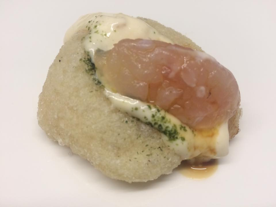 Sancta Sanctorum - Mini montanara con maionese iodata alle ostriche e tartare di dentice