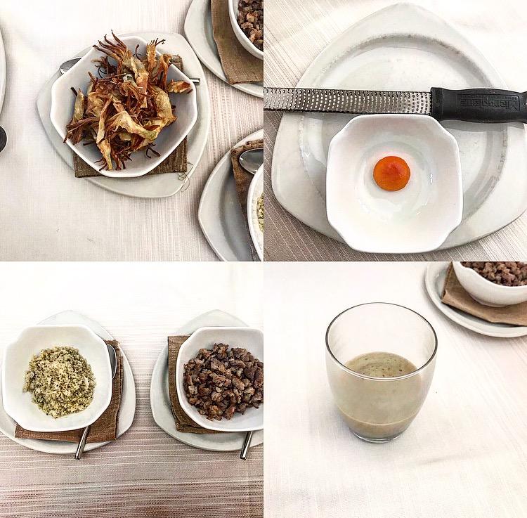 Rivisitazione del carciofo ripieno -Sifonare, unire il composto di pane, carciofi e tuorlo grattugiato