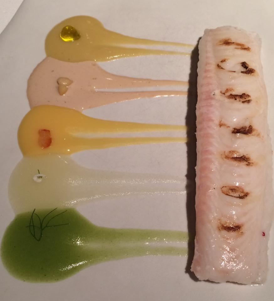 Sogliola alla griglia, con cinque salse (finocchio, bergamotto, arancia, pinoli, olive)