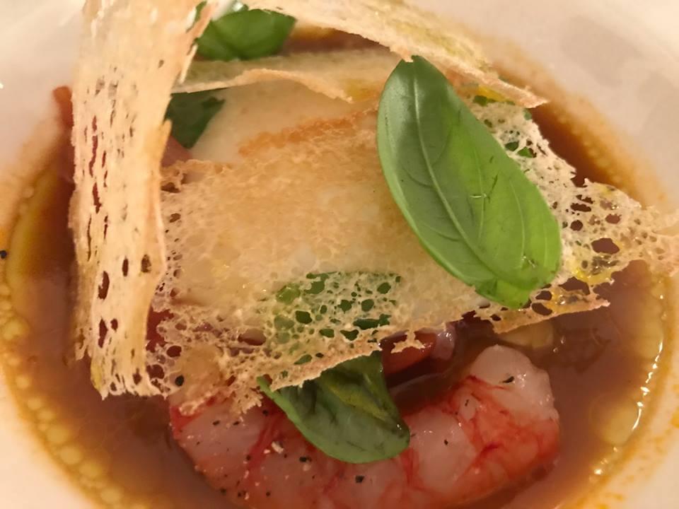 Jose' restaurant - Uovo in purgatorio con gamberi rossi