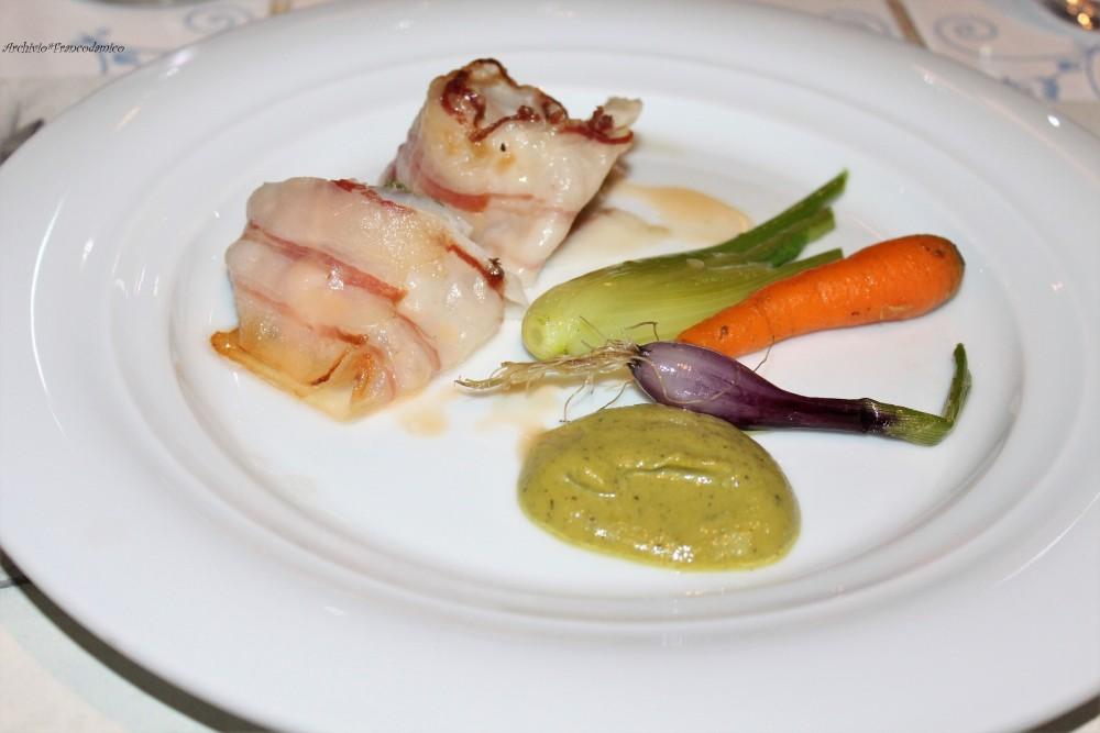PAM 1870 il secondo con scorfano in porchetta, ratatouille di baby verdure e salsa scapece