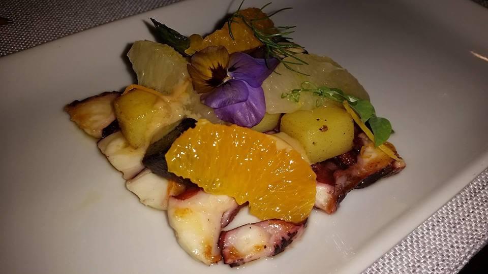 Masseria Guida - Benvenuto dello chef, polpo scottato con agrumi e riduzione di vongole