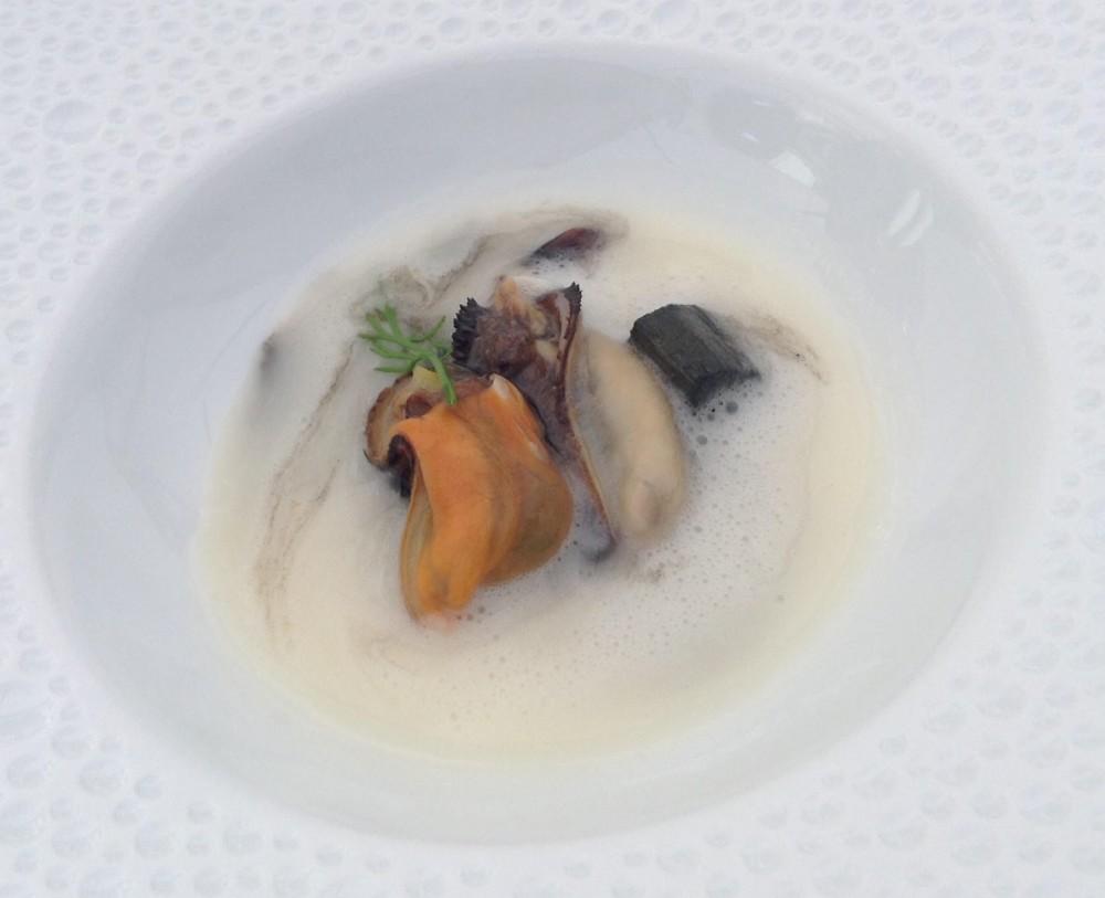 Seta, cozze, rabarbaro e salsa vellutata