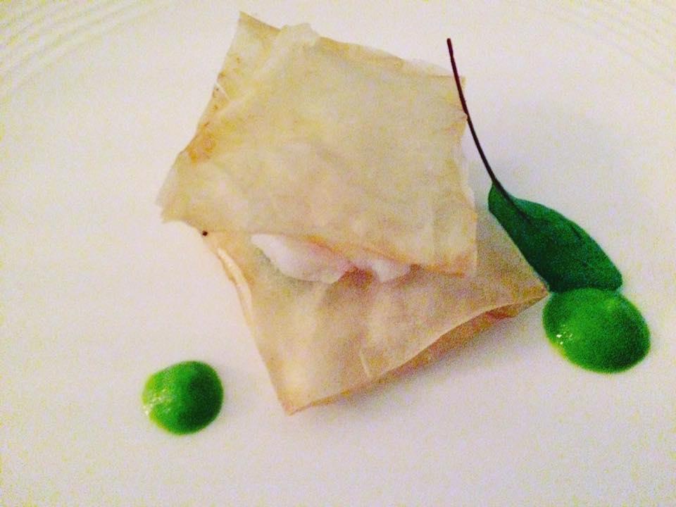 Terrazza Calabritto - Baccala', Chips Di Pasta Fillo Croccanti e Salsa Di Piselli
