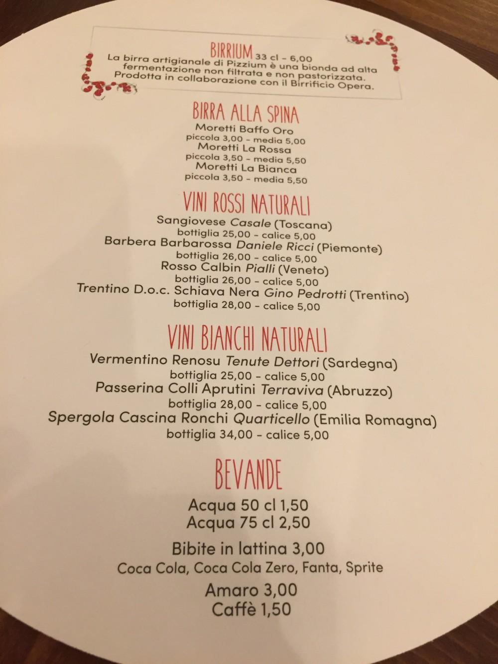 Pizzium, Milano - Menu'