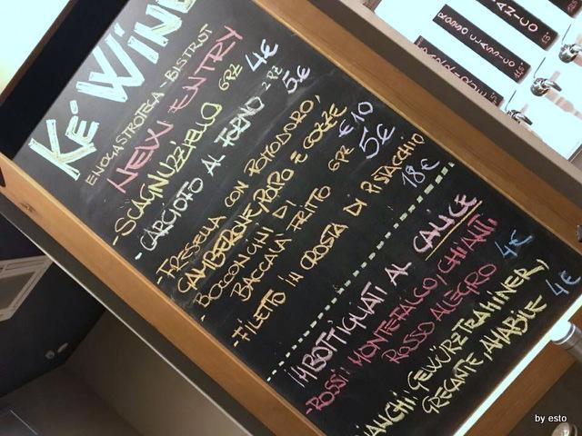 KeWine menu del giorno