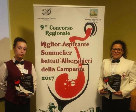 Miglior Aspirante Sommelier a Montesarchio, le vincitrici a sx categoria A a dx B