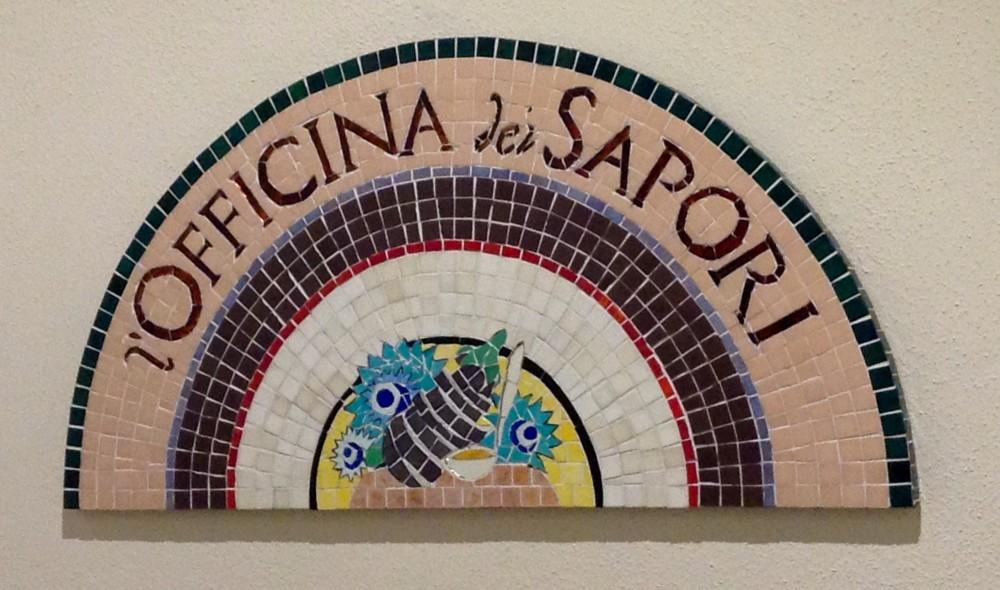 Officina dei sapori, dettaglio mosaico, dai dettagli si capiscono molte cose, come dal dettaglio del risotto…
