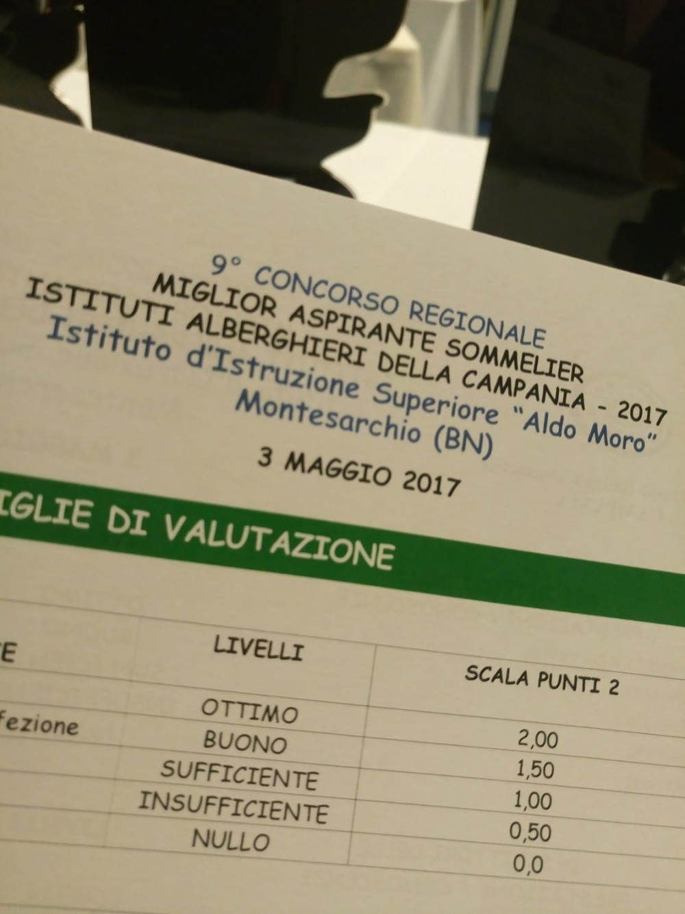 Miglior Aspirante Sommelier a Montesarchio, Scheda valutazione
