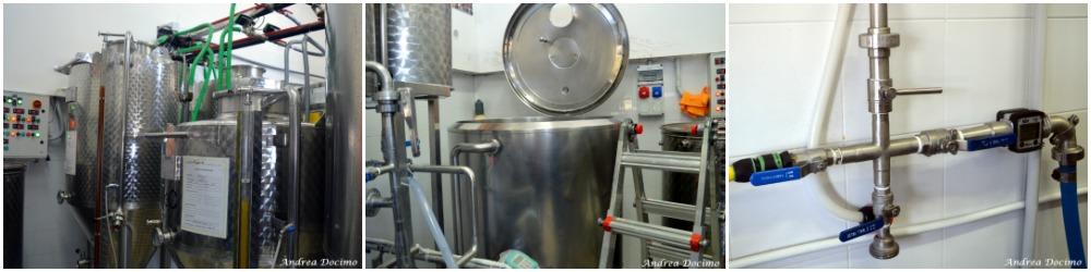 Birrificio Sorrento. I fermentatori, il tino whirlpool e la croce con il contalitri