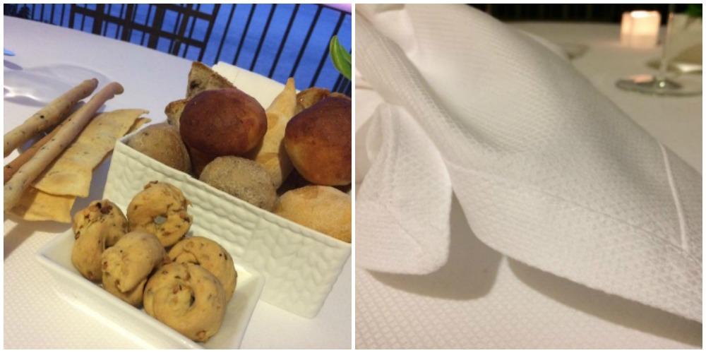 L'Accanto, pane, taralli, grissini e il tovagliato in piquet