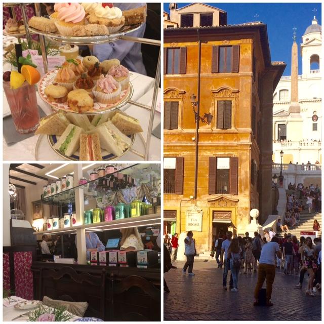 Babingtons Tea Rooms - Selezione di cup cake salati, sandwich e pasticcini, Babingtons a Piazza di Spagna, l'interno della sala da te'