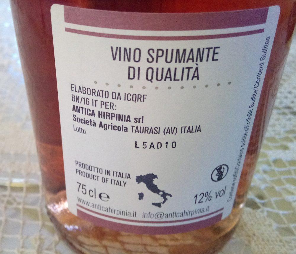Controetichetta Roserpina Spumante Brut Rosato Antica Hirpinia