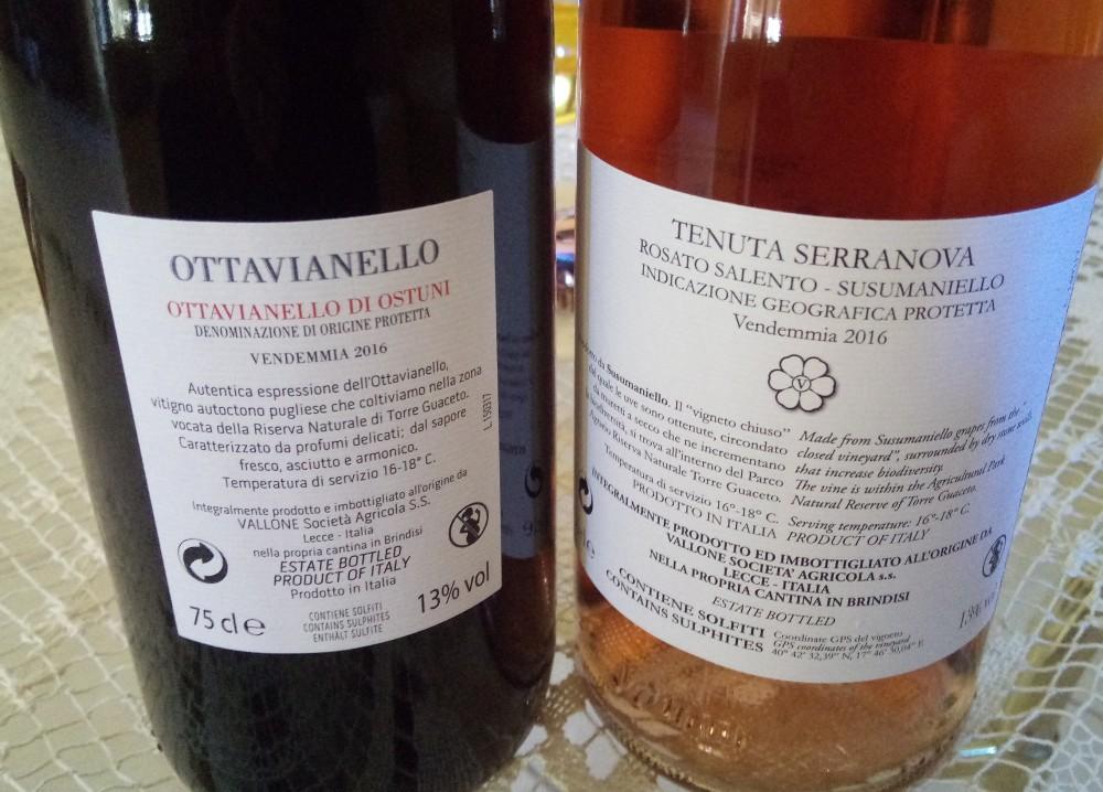 Controetichette vini di Agricole Vallone