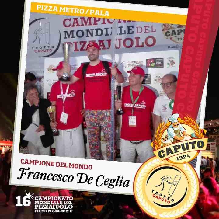 Francesco De Ceglia, pizza a metro, pala